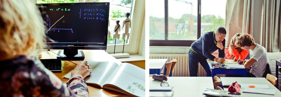 Erwin Meyers (leraar wiskunde) laat zijn leerlingen korte instructiefilmpjes eerst thuis bekijken. Zo kennen ze de theorie al wanneer ze de klas binnenstappen.