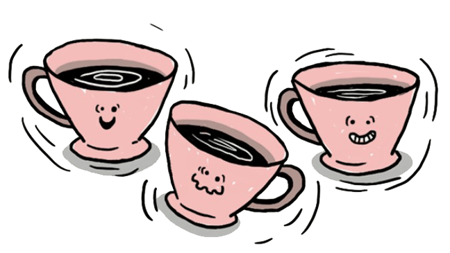 illustratie van 3 kopjes koffie