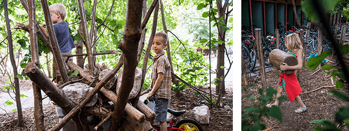 kinderen spelen tussen bomen op speelplaats