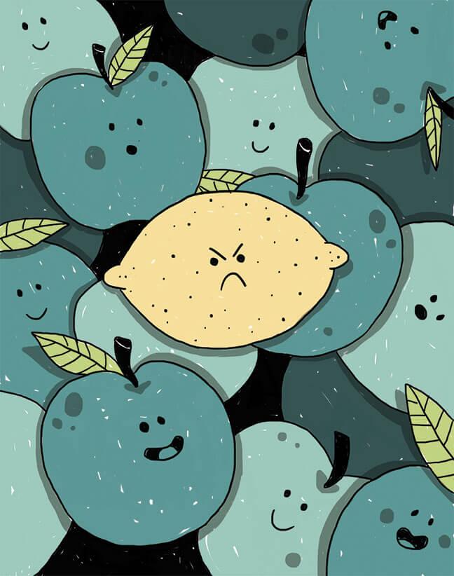 Illustratie: van een zure citroen tussen appels