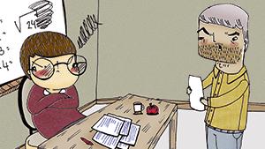 Ouder praat met leraar
