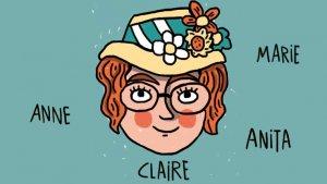 Illustratie van meisje met veel namen rond haar hoofd