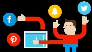 kleurrijke illustratie met sociale media iconen