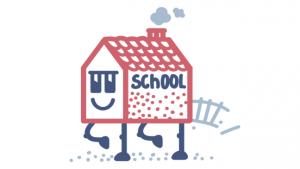 illustratie van schoolgebouw met poten