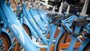 Rij blue-bike fietsen