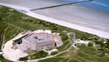Luchtzicht van Fort Napoleon Oostende