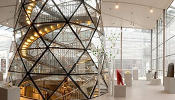 binnenkant architectuur glasmuseum