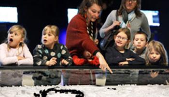 moeder en kinderen bekijken de tentoonstelling