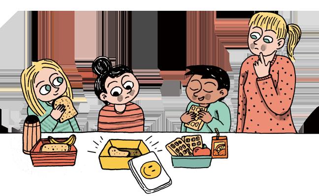 illustratie van kinderen met brooddoos