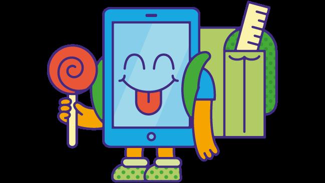 mediawijsheid lagere school: illustratie met smartphone-lagere-school-figuurtje