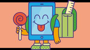 illustratie met smartphone-lagere-school-figuurtje