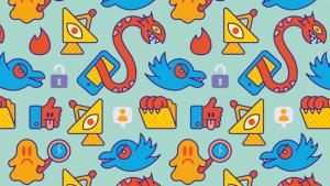 illustratie van patroon met sociale media-icoontjes