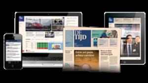 Krant, tablet en smartphone met de website van van L'echo / De tijd