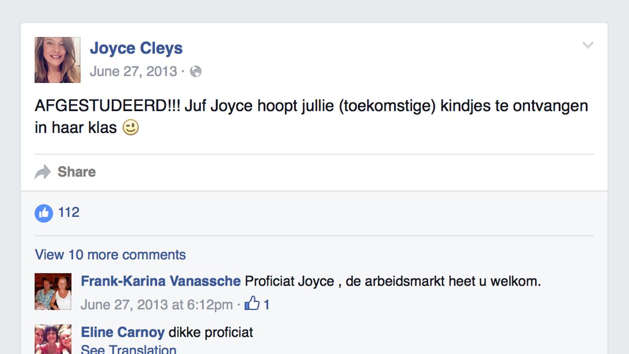 screenshot facebookprofiel van juf die gaat solliciteren