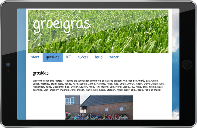 screenshot van klasblog op tablet