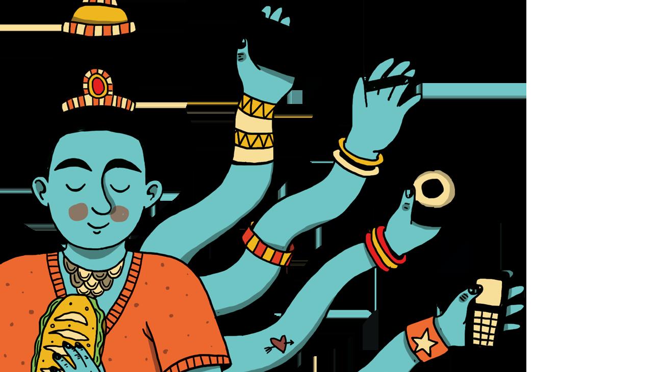 illustratie van een Shiva-figuur met veel armen