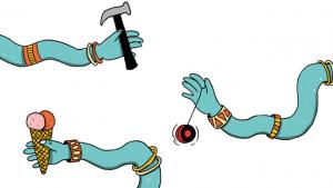 illustratie met drie armen