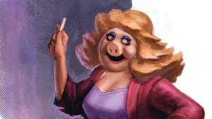 illustratie van Miss Piggy als leraar