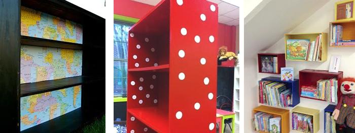 kleurrijk ingeklede boekenrekken