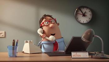 3D cartoonfiguurtje achter zijn bureau met laptop & telefoon
