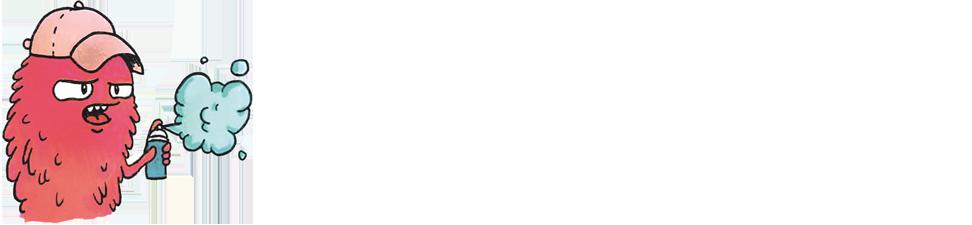 illustratie van figuurtje dat graffiti spuit