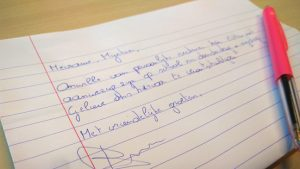 Een handgeschreven ziektebriefje