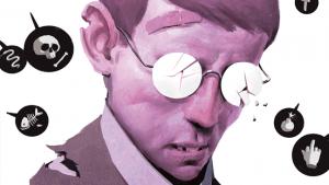 illustratie van jongen met gebroken bril en pleister