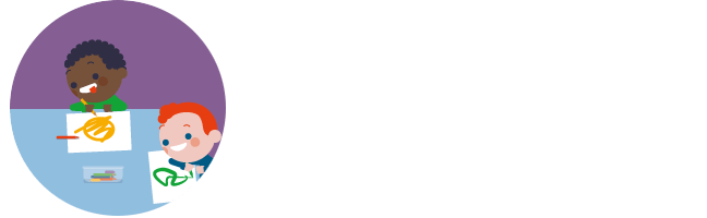 Illustratie van kleuters rond een knutseltafel