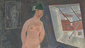 schilderij van meisje op een zolderkamer