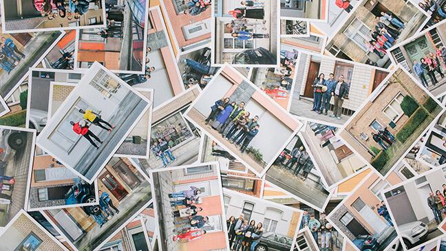 Collage van wenskaarten uit het fotoproject