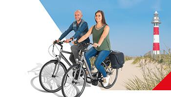 man en vrouw op fiets van belgocycle