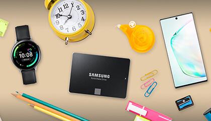 Samsung-toestellen omgeven door allerlei voorwerpen