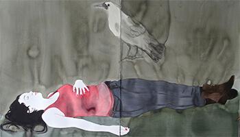 schilderij van liggend meisje