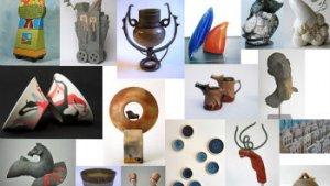 collage met foto's van voorwerpen in keramiek