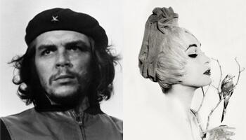 foto van mooie vrouw en foto van Che Guevara