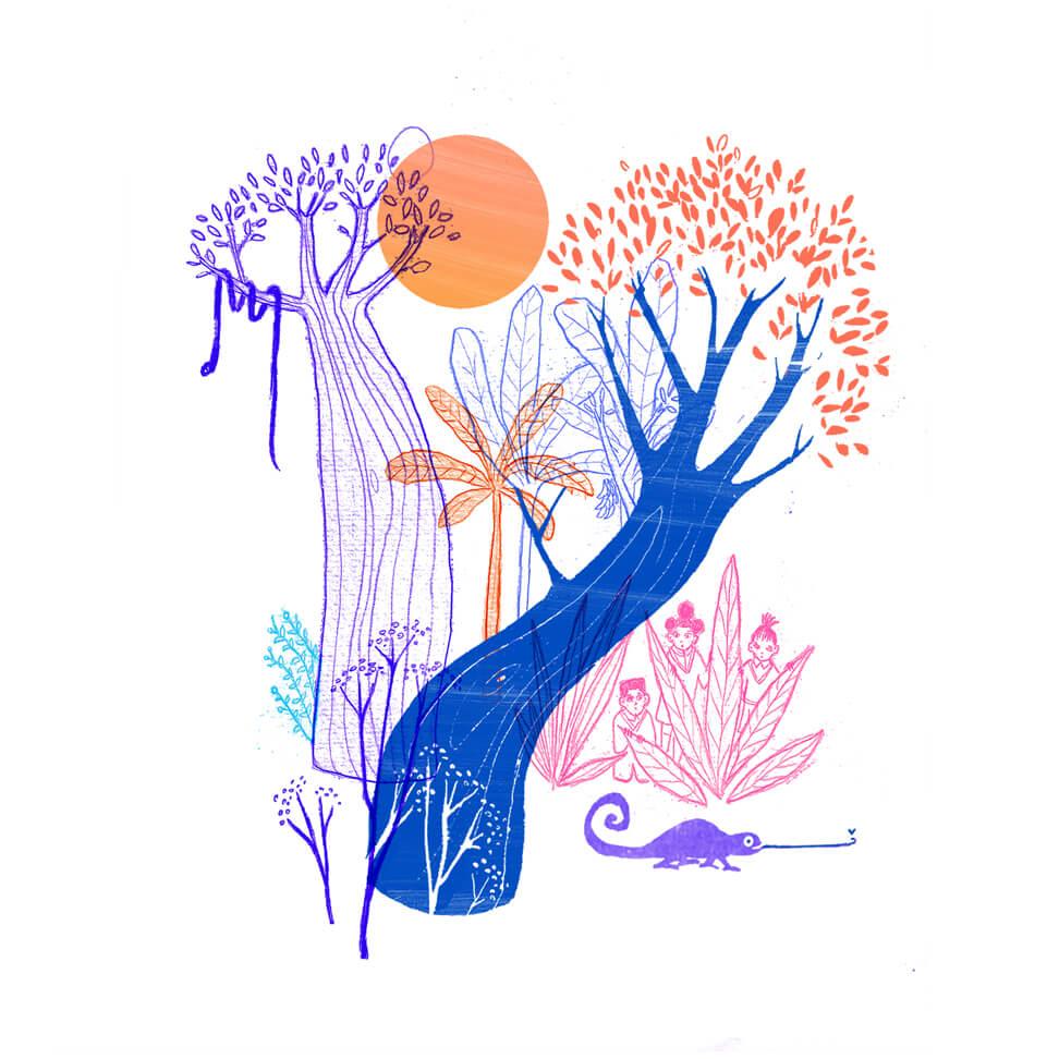 Illustratie: leven van dag tot dag, op het ritme van het klimaat en de natuur