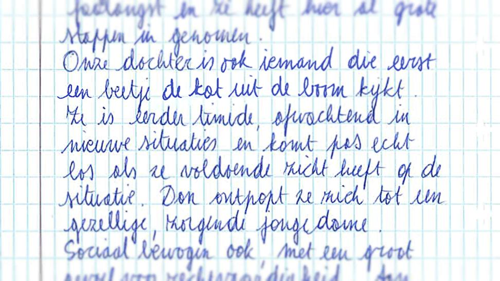 Brief geschreven door ouders over hun kind