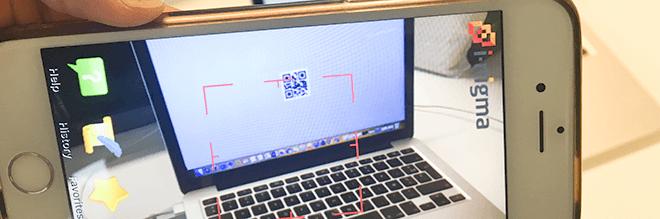 Laptop met QR-code