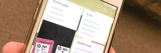 Smartphone met Padlet app