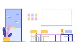 Illustratie van een klaslokaal