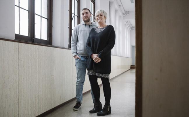 Arno Jordens, leerling Miniemeninstituut, Leuven en Karen Stallaert, ondersteuningsnetwerk Oost-Brabant
