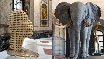 Olifant & kunstwerk van hoofd uit Afrika Museum