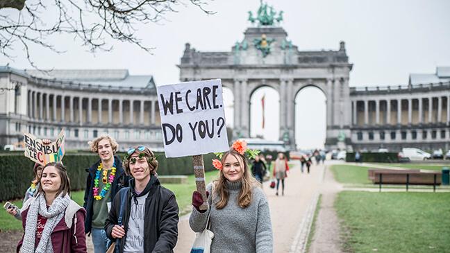 leerlingen betogen voor het klimaat in Brussel
