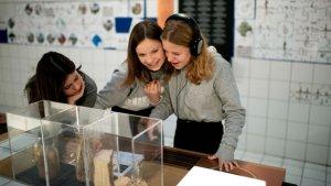 Leerlingen voeren opdrachten uit in het Parc d'aventures scientifiques (PASS)