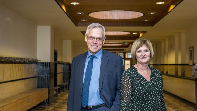 Els Claes, algemeen directeur KS Diest en Roger Haest, voorzitter Inrichtend Comité Annuntiaten Heverlee