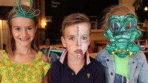 3 kindjes geschminkt en gegrimeerd