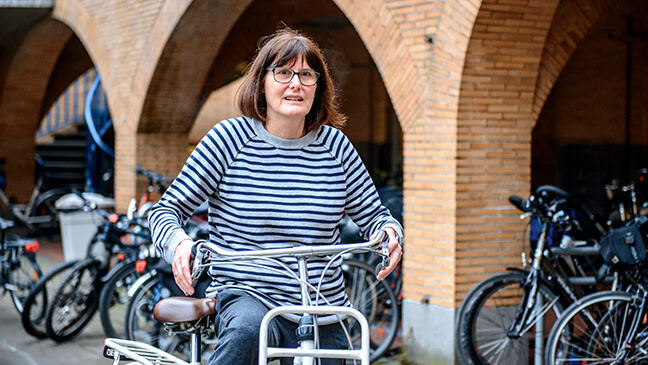 Marleen Metens met de fiets