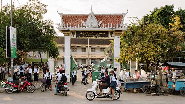 Cambodja: drukte voor een schoolgebouw