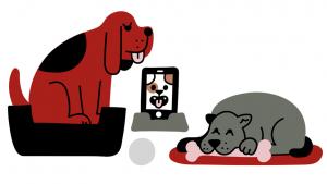 illustratie van twee honden en een smartphone-hond
