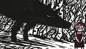 wolf en roodkapje in houtsnede van Isabelle Vandenabeele